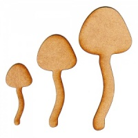 Tall Mushroom Silhouettes x 3 - MDF Wood Shapes