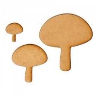 Button Mushroom Silhouettes x 3 - MDF Wood Shapes