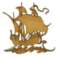 Galleon Boat MDF Wood Shape - Style 6