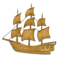 Galleon Boat MDF Wood Shape - Style 8