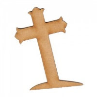 Tilted Gravestone Cross MDF Wood Shape - Style 1