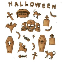 Sheet of Mini MDF Halloween Motifs Style 2