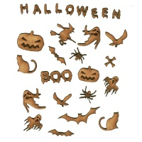 Creatures of the Night - Sheet of Halloween Mini Wood Shapes