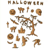 Haunted Graveyard - Sheet of Mini Halloween Wood Shapes