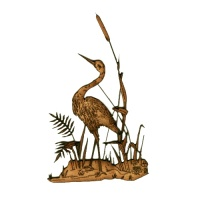Heron on River Bank MDF Wood Bird Shape