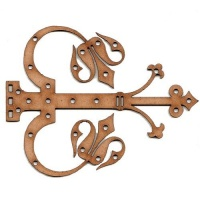 Ornate Fleur De Lis Decorative Hinge MDF Wood Shape