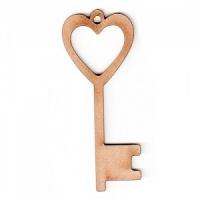 Heart Key MDF Wood Shape x 2