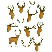 Sheet of Mini Deer & Antlers - MDF Wood Animal Shapes - Style 1