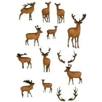 Sheet of Mini Deer & Antlers - MDF Wood Animal Shapes - Style 3