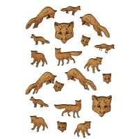 Sheet of Mini Foxes - MDF Wood Animal Shapes