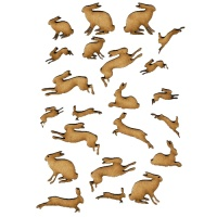 Sheet of Mini Hares - MDF Wood Animal Shapes