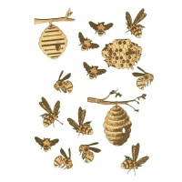 Sheet of Mini MDF Bees & Beehives