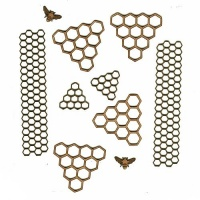 Sheet of Mini MDF Bees & Honeycombs