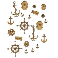 Sheet of Mini MDF Nautical Motifs Style 2