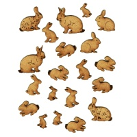 Sheet of Mini Rabbits - MDF Wood Animal Shapes