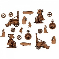 Sheet of Mini MDF Steampunk Motifs Style 4