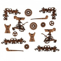 Sheet of Mini MDF Steampunk Motifs Style 5