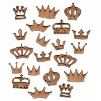 Sheet of Mini MDF Wood Crowns - Style 1