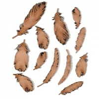 Sheet of Mini MDF Wood Feathers - Style 2