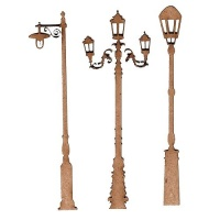 Sheet of Mini MDF Wood Lamp Posts - Style 2