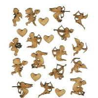 Sheet of Mini Valentine MDF Wood Shapes - Style 2