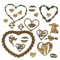 Sheet of Mini Valentine MDF Wood Shapes - Style 3