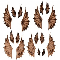 Sheet of Mini MDF Wood Wings - Style 2