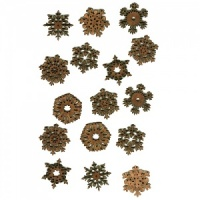 Sheet of Mini MDF Christmas Wood Shapes - Snowflakes 2
