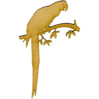 Parrot on Branch MDF Wood Bird Shape