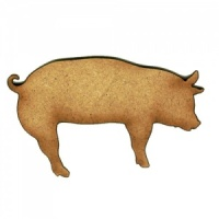 Pig with Curly Tail - MDF Wood Shape Style 3