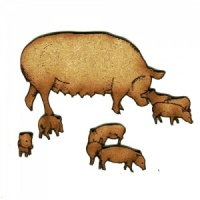 Sow with Piglets MDF Wood Shape Style 22
