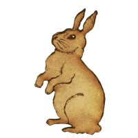 Alert Rabbit MDF Wood Shape