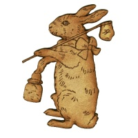 Rabbit Gone Fishing MDF Wood Shape