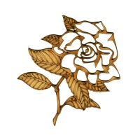 Garden Rose Outline MDF Wood Shape