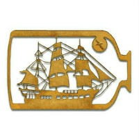 Ship in a Bottle MDF Wood Shape - Style 2