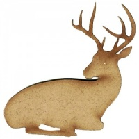 Resting Stag MDF Wood Deer Shape Style 14