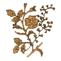 Wild Rose & Maidenhair Fern Sprig MDF Wood Shape