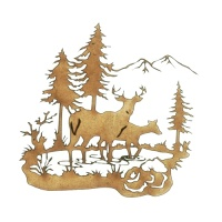 Winter Deer Scene Style 4 - MDF Wood Shape