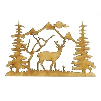 Winter Deer Scene Style 7 - MDF Wood Shape