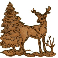 Winter Deer Scene Style 8 - MDF Wood Shape
