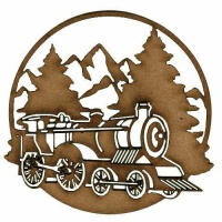 Winter Scene with Steam Train - MDF Wood Shape