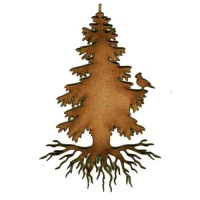 Rooted Winter Tree & Bird - MDF Wood Shape