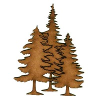 Trio of Winter Fir Trees - MDF Wood Shape