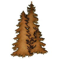 Tall Trio of Winter Fir Trees - MDF Wood Shape