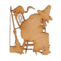 Witch, Cat & Broomstick Scene MDF Wood Shape