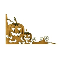 Spooky Eyes & Pumpkins MDF Wood Corner