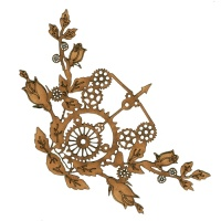 Steampunk Rosebuds, Cogs & Bow MDF Wood Corner - Style 59