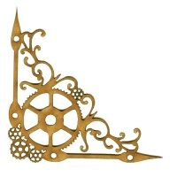 Steampunk Clock Hands & Flourishes MDF Wood Corner - Style 60