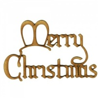 Merry Christmas - Wood Words in Christmas Card Font