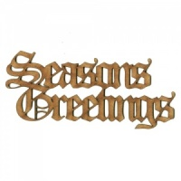 Seasons Greetings - Wood Words in Olde English Font